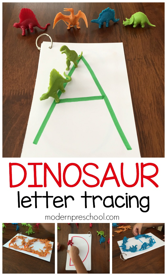 practice letter formation and recognition dinosaur letter tracing for preschoolers busy bag activity from modern