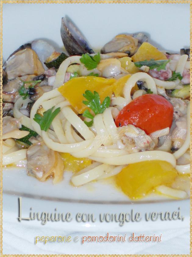 Linguine con vongole veraci, peperone e pomodorini datterini