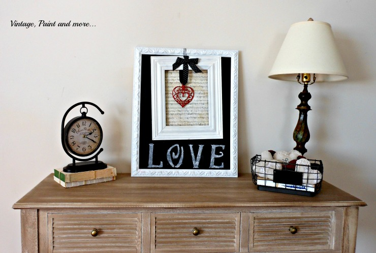 a vintage Valentine vignette made with vintage and thrifted pieces