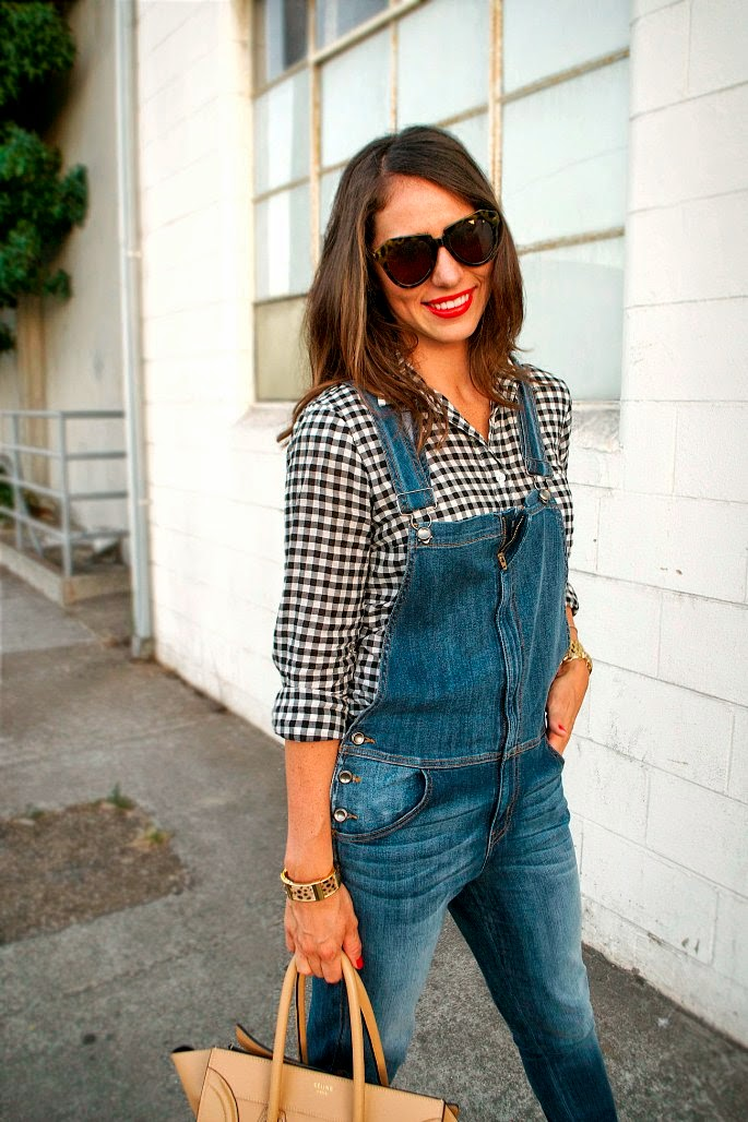 jcrew gingham shirt with overalls