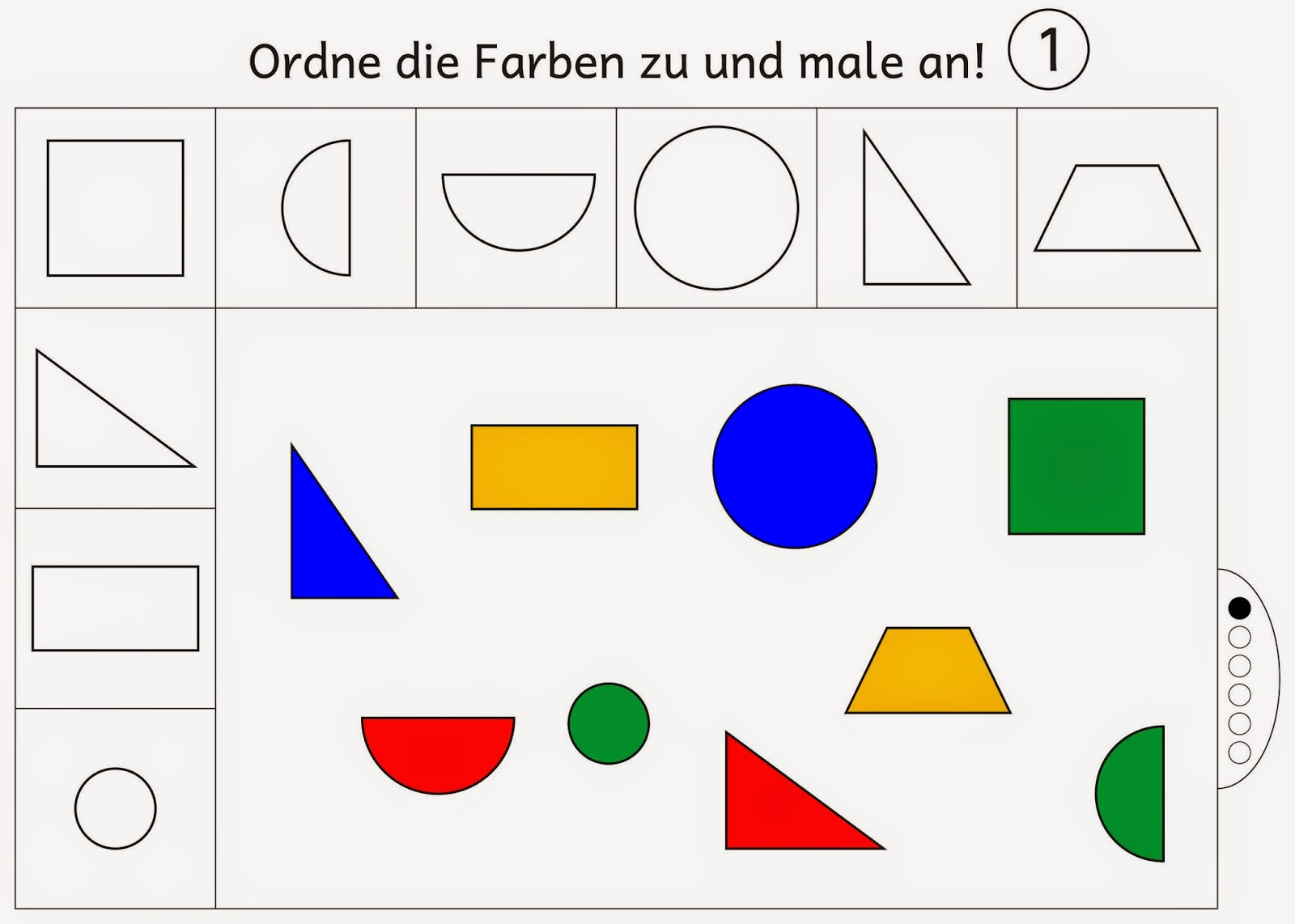 Lernstübchen: Farben zuordnen und anmalen Level 1