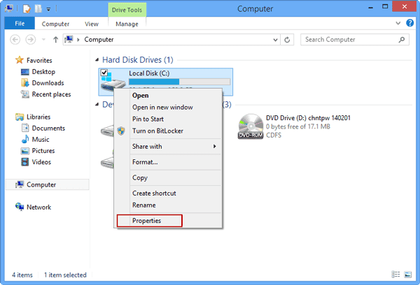 open Windows 8 hard drive properties