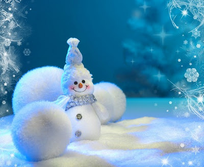 2012 Free Christmas Wallpapers Cute Snowman Merry