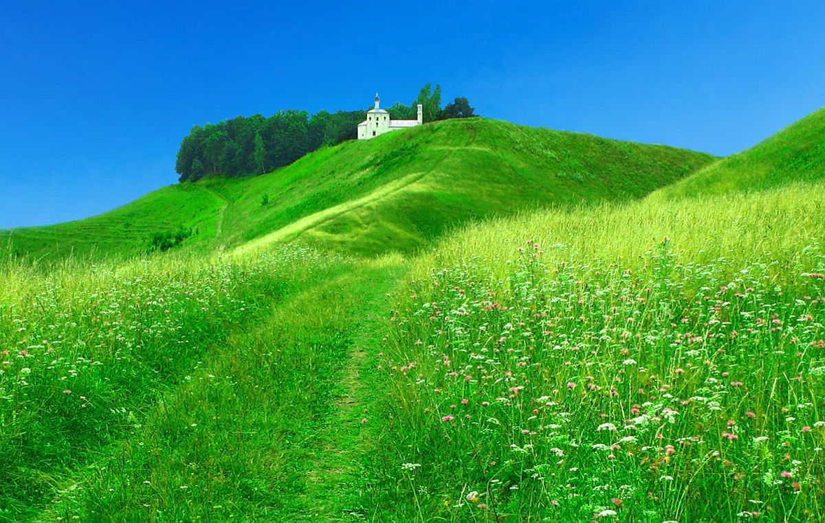 green meadow peace of mind wallpaper church blue sky