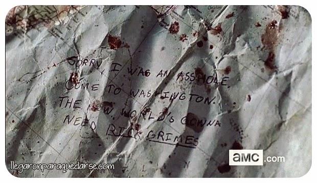 """Perdón, fui un idiota. Ven a Washington. El nuevo mundo va a necesitar a Rick Grimes"""" - Abraham"""