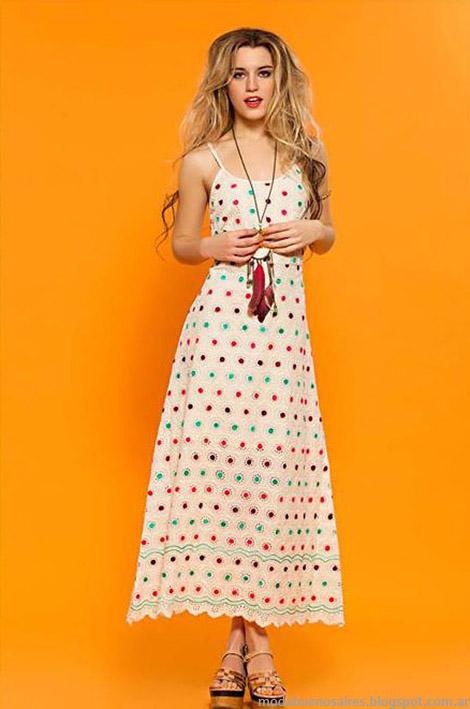 Vestido largo de broderie de colores. Looks boho romántico moda verano 2015 Sophya.