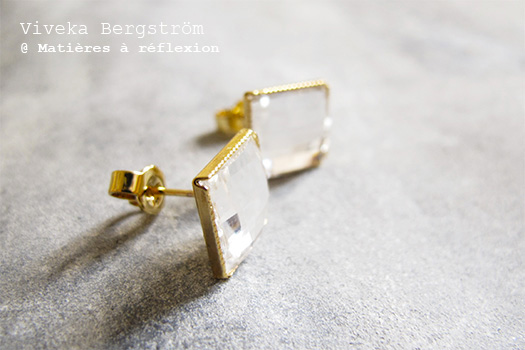 Bijoux dorés Viveka Bergstrom boucles cristal blanc