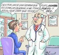 Chiste gráfico de un médico con una respuesta muy obvia