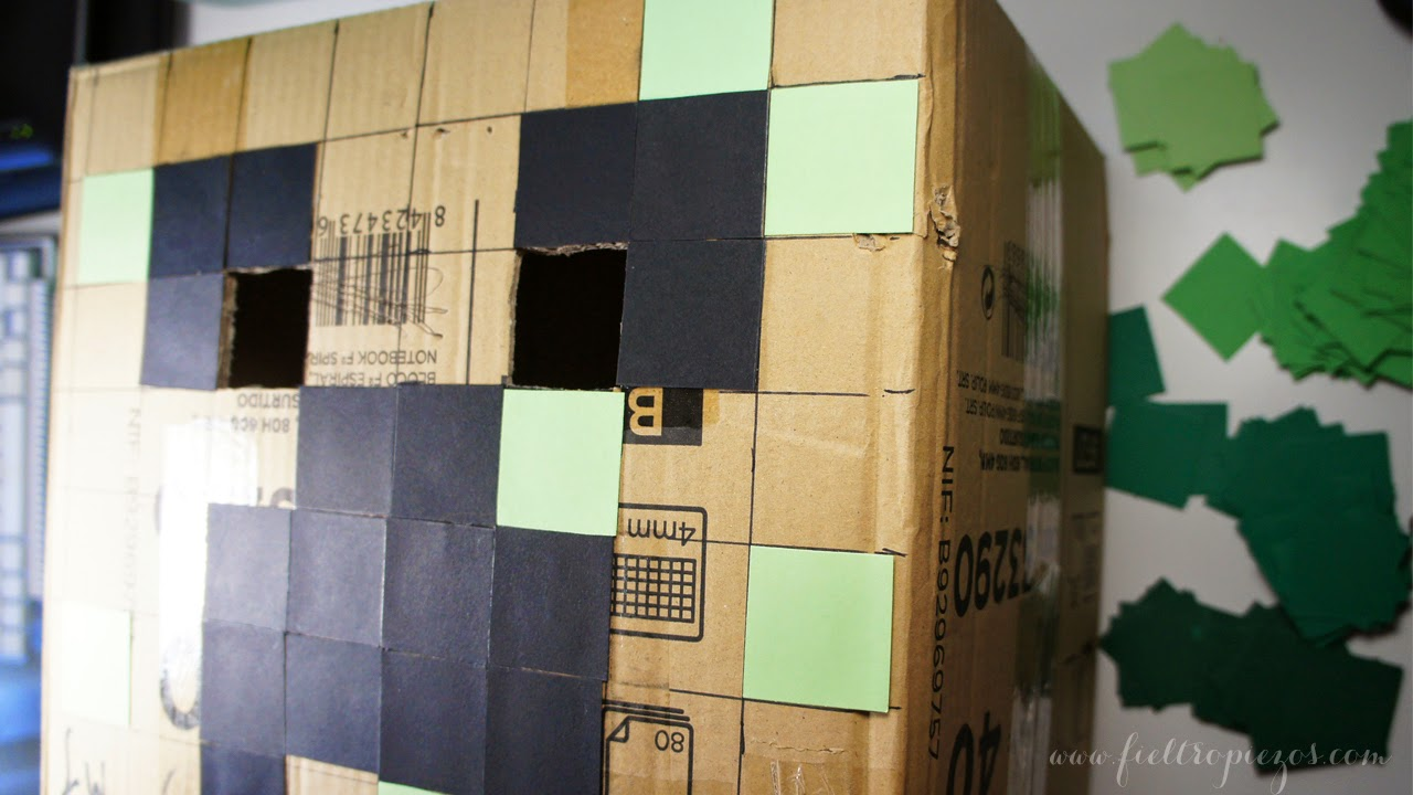 fieltropiezos diy c mo hacer una m scara de creeper minecraft. Black Bedroom Furniture Sets. Home Design Ideas