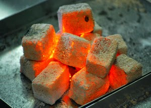 coconut shell charcoal briquette were being burned