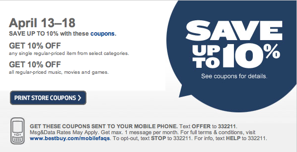 best buy printable coupons 2011. Printable Coupon: 10% off at
