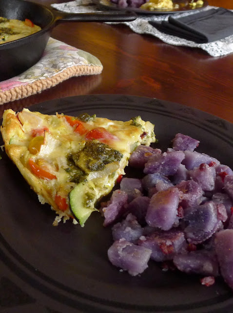 Frittata and Blue Adirondack potato home fries