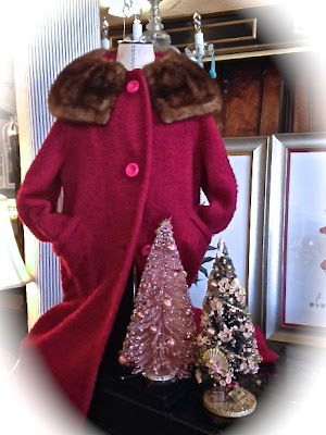 Vintage Hot Pink coat with fur collar at The Pickled Hutch