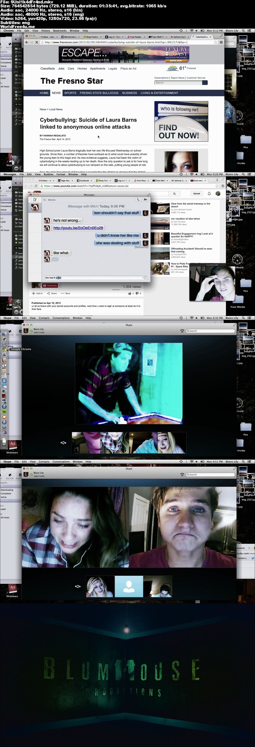 Screen Shot Of Unfriended 2014 In Hindi English Dual Audio Bluray 720P