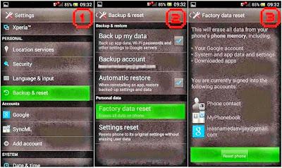 Hard Reset Sony Xperia M C1905 using menu