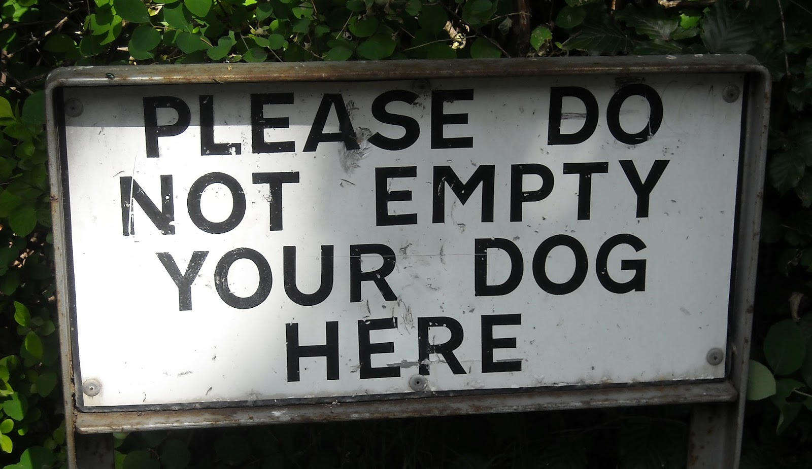 "A sign that says: ""Please do not empty your dog"""