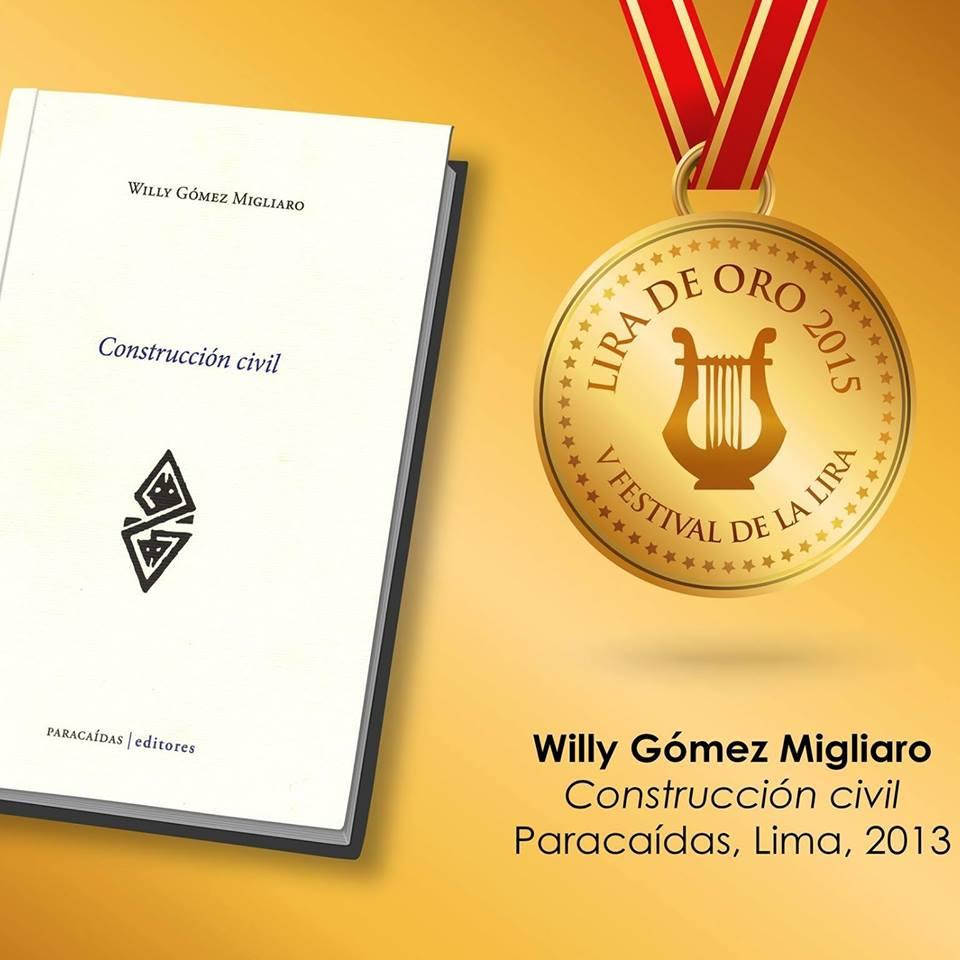 Sol negro felicita al poeta Willy Gomez Migliaro por haber obtenido el premio de la Lira 2015