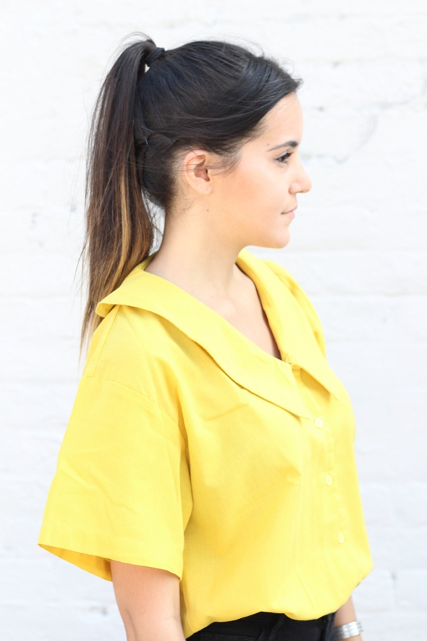 vintage yellow cropped collared shirt