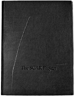 black book cover for The Scar with scar on front