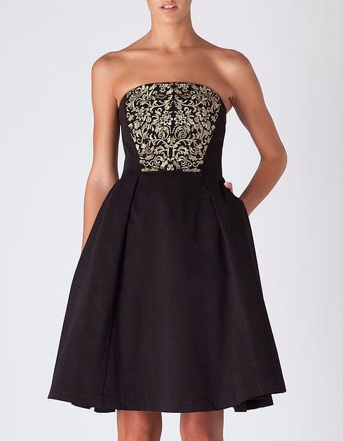 vestido bordado negro y oro