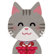 プレゼントを送る猫のイラスト