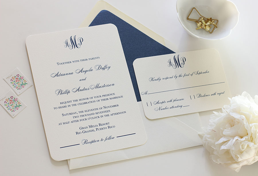 Elegant Monogram Wedding Invitation Blush Paperie
