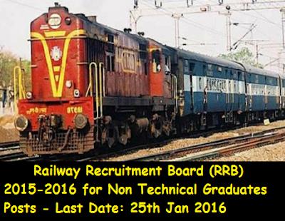Railway Recruitment Board (RRB) 2015-2016 for Non Technical Graduates Posts - 18252 vacancies