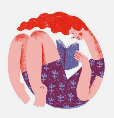 illustration by JooHee Yoon of a woman with red hair reading