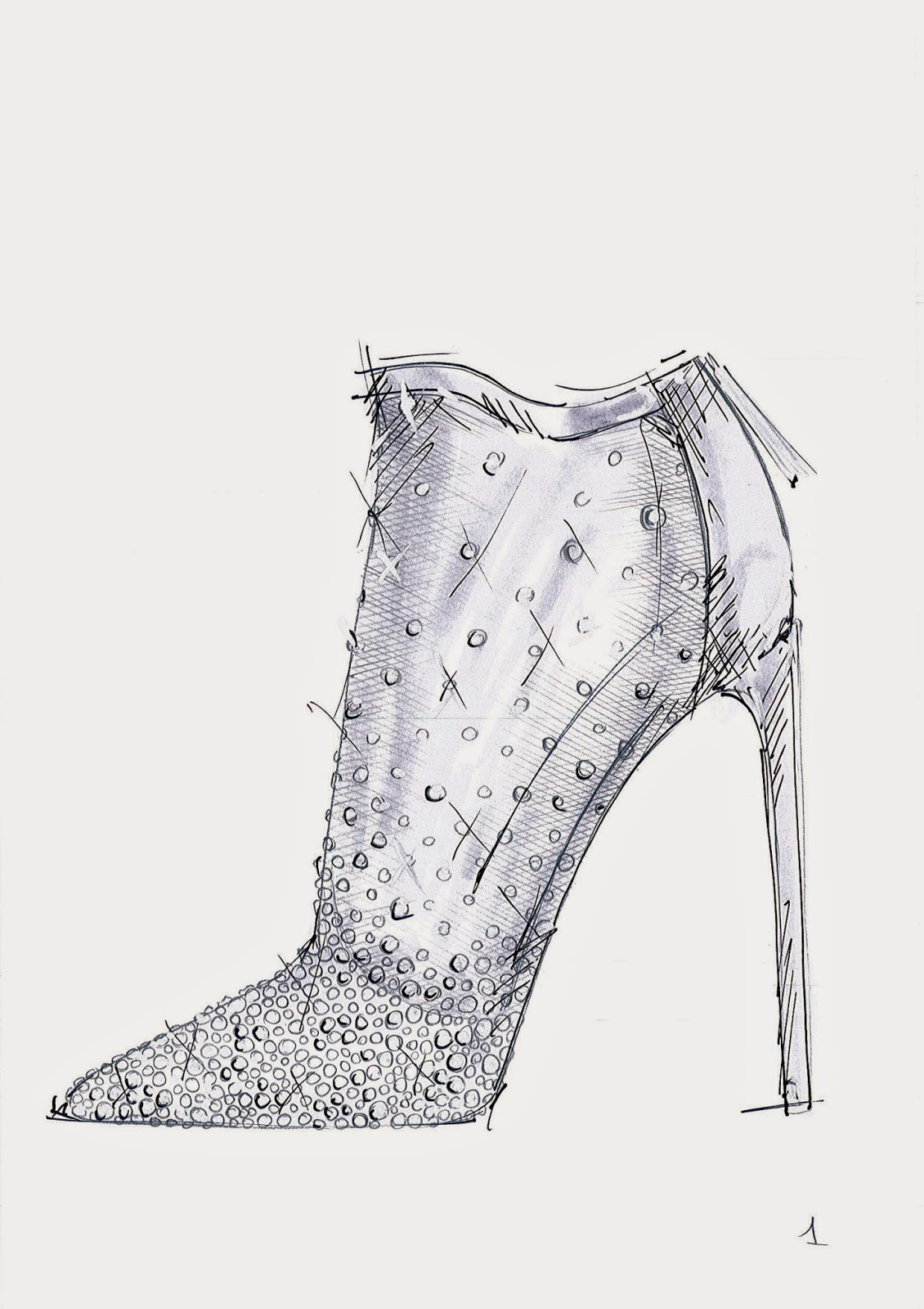 Stuart Weitzman Cinderella Glass Slipper Sketch