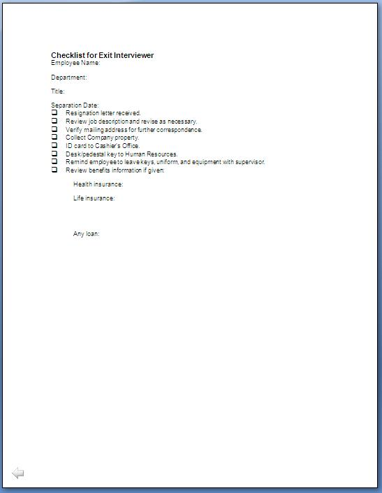 employee exit interview form template .