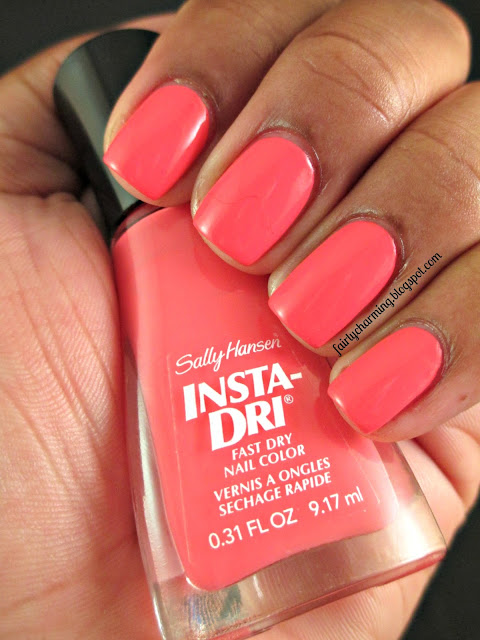 Sally Hansen Peachy Breeze, Insta Dri, swatch, coral, pink, bright, nails, nail art, nail design, mani