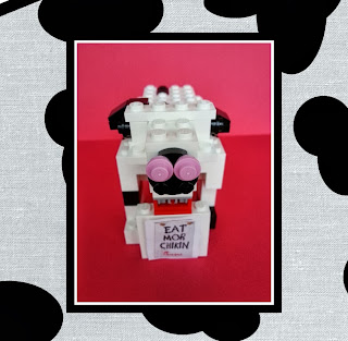 Eat Mor Chikin, Chick-fil-a Cow made out of LEGO bricks