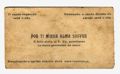 Cartão de galanteio encontrado num livro que pertencia ao escritor gaúcho Othelo Rodrigues Rosa
