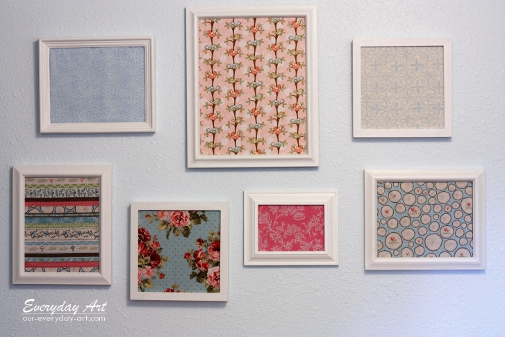 ive been working on my girls blue and pink shared room and this is my version of some framed fabric wall art