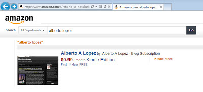Screenshot image of Amazon.com's web page where AlbertoALopez's blog is available for sale