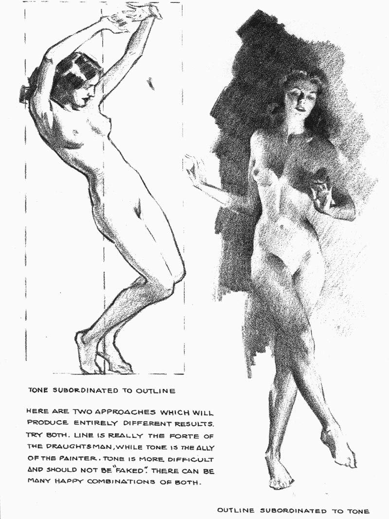 Dibujo del desnudo femenino en posturas llamativas.