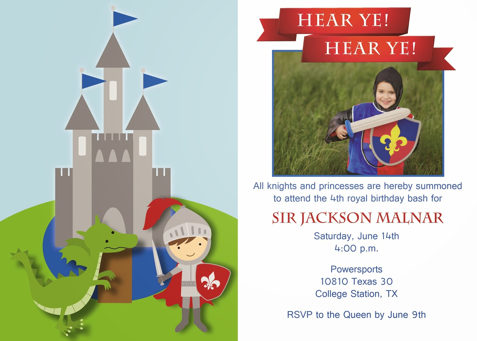 The Malnar Family Jacksons Knights and Dragons Party – Knight Birthday Invitations