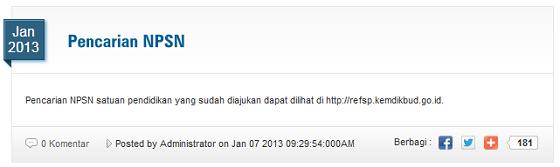 Pencarian NPSN | Cek di refsp.data.kemdikbud.go.id