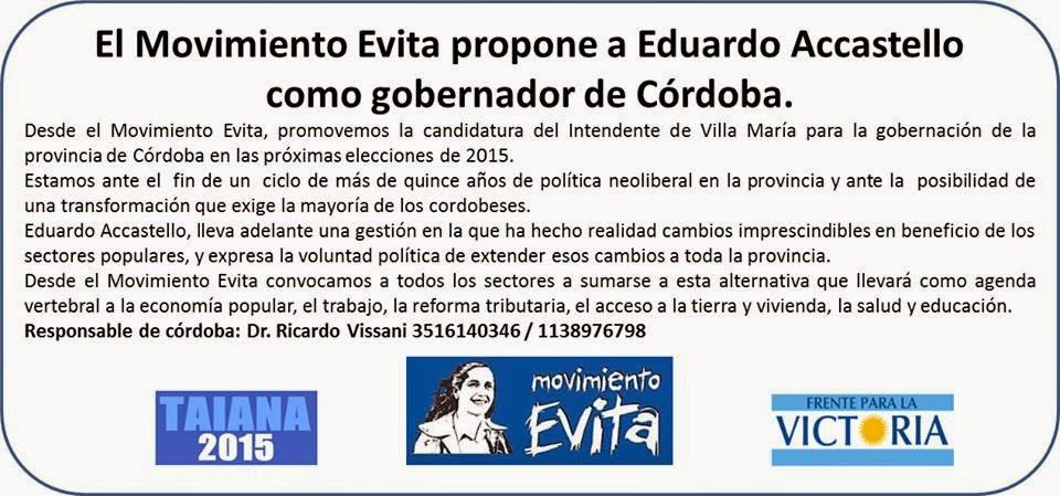 El Movimiento Evita Córdoba informa que apoya a Eduardo Accastelo para candidato a Gobernador