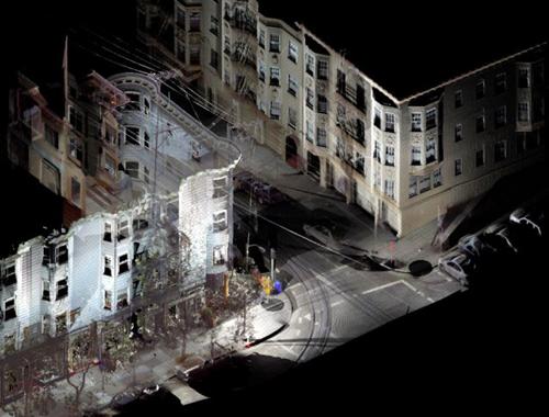 蟻の巣を断面でみている様な3Dレーザースキャニングの画像。現在でも建築家は世界中を駆け回っているが、どこにいても建築が可能になるか?