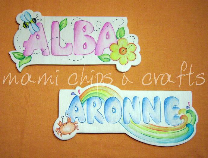 Mami chips crafts scritte con nome in legno for Scritte in legno nomi