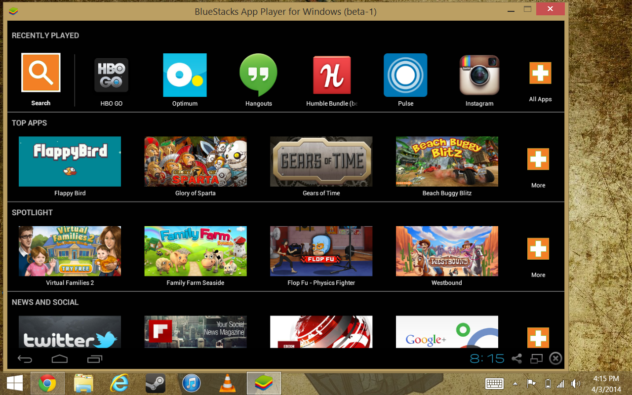 how to run android apps on windows 8