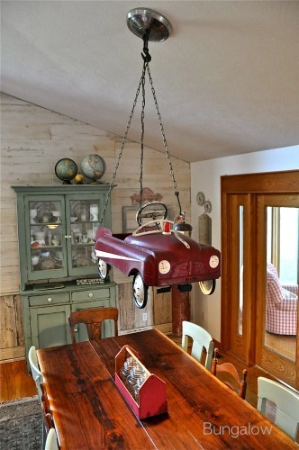 Unique pedal car chandelier by Bungalow, featured on I Love That Junk