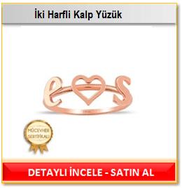 İki Harfli Kalp Yüzük