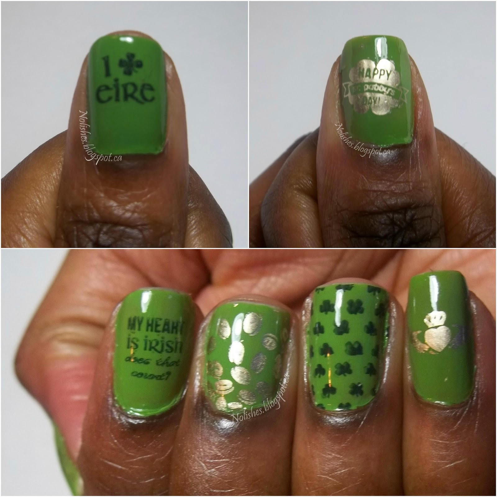 Additional shots of the Green, and Gold St Patrick's Day Manicure