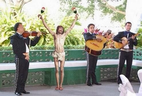 Funny Jesus Mexican Band Playing Maracas Joke Picture