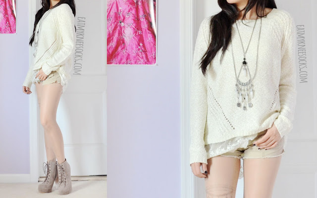 A cute, boho-chic ulzzang outfit with Idol Collective's Lovely in Lace cream sweater, a Forever 21 bohemian layered body chain/necklace, fake tattoo print tights, khaki Aeropostale shorts, and taupe lucite heel platform booties.