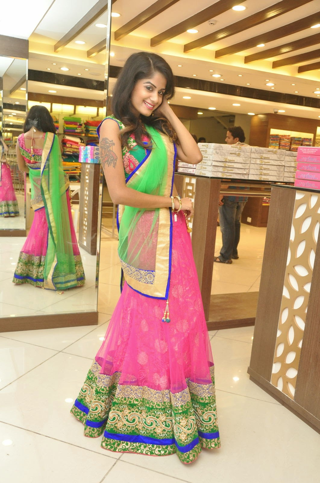 Anukruthi Glam pics in half saree-HQ-Photo-16