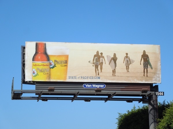 Pacifico Clara beer female surfer billboard