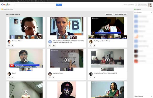 Pantalla Hangouts (Chat) de la Xarxa Social Google Plus